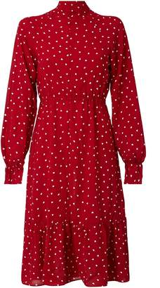 Love Hearts Hasanova Printed Midi Silk Dress