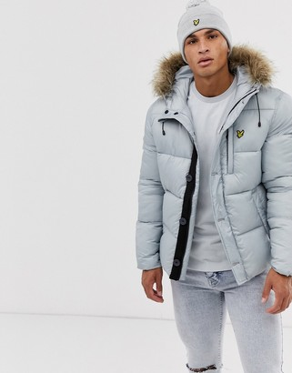 Lyle & Scott reflective parka with detachable faux fur hood in silver