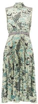 Saloni Fleur Animal-print Satin Dress - Womens - Green Multi