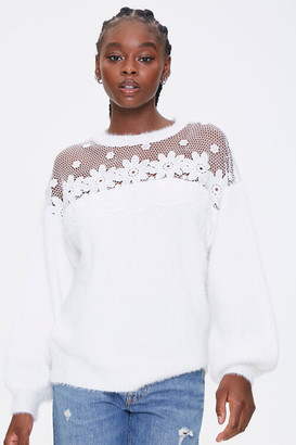 Forever 21 Floral Crochet Sweater