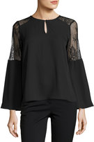 Collective Concepts Bell-Sleeve Lace-Panel Top, Black