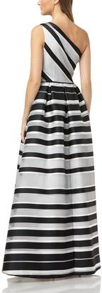 Carmen Marc Valvo One-Shoulder Striped Ball Gown