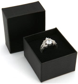 The Love Silver Collection Sterling Silver & Cubic Zirconia Vintage Style Leaf Ring Set
