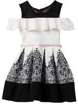 Beautees Belted Cold Shoulder Lace Print Dress with Necklace (Big Girls)