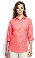 Classic Women's Plus Size 3/4 Sleeve Broadcloth Shirt-Clear Coral