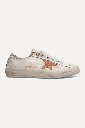 Golden Goose V-star Distressed Recycled Canvas And Leather Sneakers - Off-white