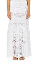 Temptation Positano Women's Mixed-Fabric Long Skirt-WHITE