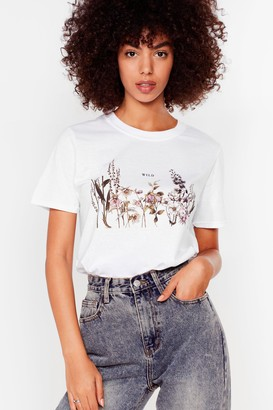 Nasty Gal Womens Wild Floral Graphic Tee - White