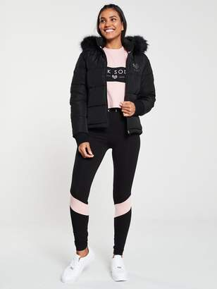 Pink Soda Rodeo Metallic Quilted Coat - Black