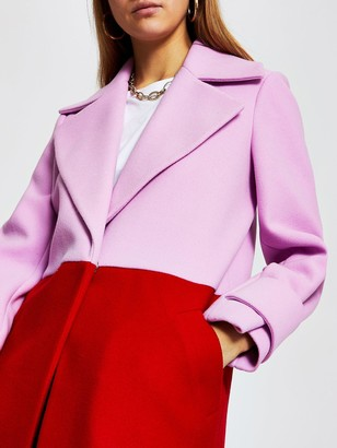 River Island Single Breasted Colourblock Coat - Red