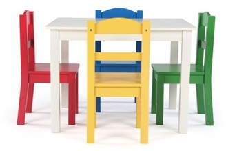 Humble Crew Summit Collection Kids Wood Table and 4 Chairs Set, White & Primary