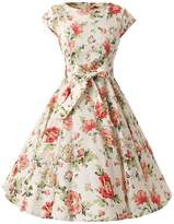 Ensnovo Womens Cap Sleeve Floral Vintage Rockabilly Swing Party Cocktail Dress L