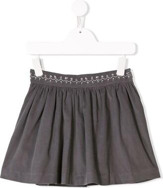 Knot Corduroy Pleated Skirt