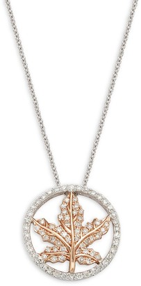 Effy 14K White Rose Gold Diamond Leaf Pendant Necklace