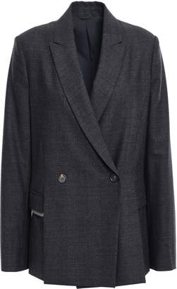 Brunello Cucinelli Double-breasted Bead-embellished Stretch-wool Blazer
