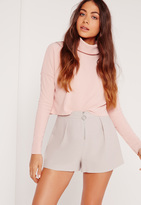 Missguided Zip High Waisted Shorts Grey