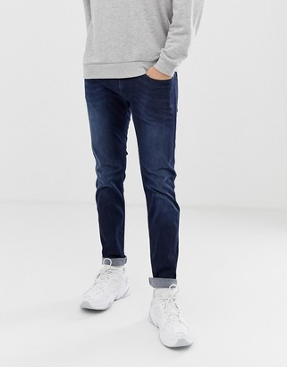 Replay Anbass power stretch slim jeans in dark wash-Blue