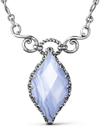 Carolyn Pollack Blue Lace Agate (16x30mm) Infinity Necklace in Sterling Silver