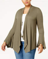 INC International Concepts Plus Size Ribbed Bell-Sleeve Cardigan, Created for Macy's