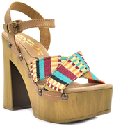 Sbicca Teal Stripe Leather Abriana Sandal