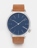 Komono Winston Leather Watch In Cognac