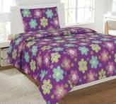 Fancy Linen Collection Full Size 4 pc Sheet set Flower Purple Pink New
