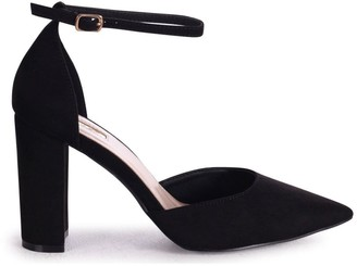 Linzi MARLIE - Black Suede Court Shoe With Ankle Strap & Block Heel