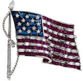 Tiffany & Co. Diamond, Sapphire, & Ruby American Flag Brooch
