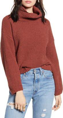 Woven Heart Chenille Turtleneck Sweater