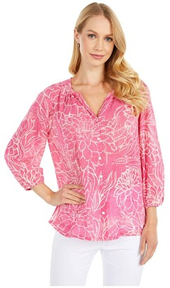 Tommy Bahama Bungalow Blooms Top 3/4 Sleeve (Fuchsia Bloom) Women's Clothing