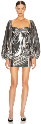 ATTICO Lame Mini Dress in Silver | FWRD