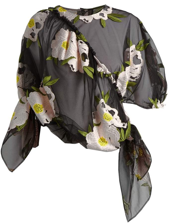 Simone Rocha Peony-embroidered draped tulle top