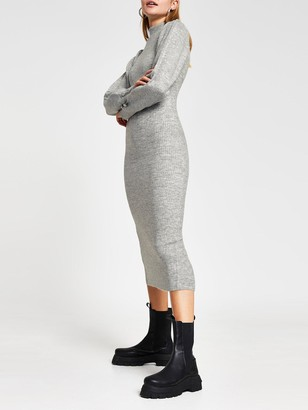 River Island Volume Sleeve Knitted Midi Dress - Grey