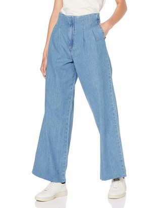 Miss Selfridge Women's Blue Pleat Front Wide Leg Jeans Flared