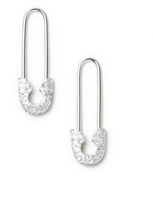 AUGUST & JUNE Diamond Safety Pin Earrings (14k White Gold)