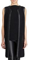 Lauren Ralph Lauren Faux Leather Trim Vest