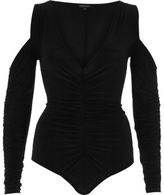 River Island Womens Black long sleeve cold shoulder bodysuit