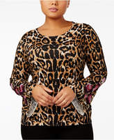 INC International Concepts Plus Size Animal-Print Bell-Sleeve Sweater, Created for Macy's