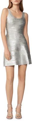 Herve Leger Foiled Fit & Flare Dress