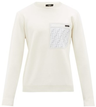 Fendi Ff Mesh-pocket Wool Sweater - Mens - White