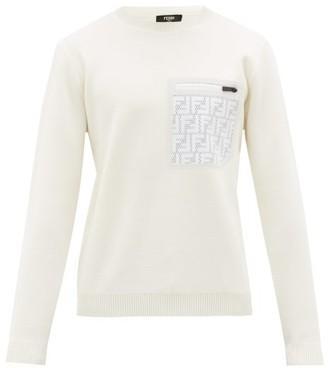 Fendi Ff Mesh-pocket Wool Sweater - White