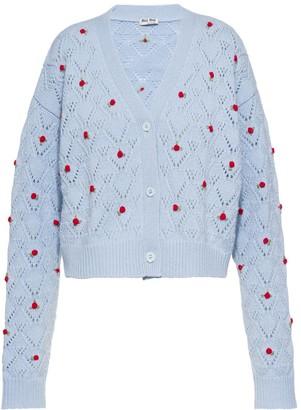 Miu Miu Rose-Embroidered Cardigan
