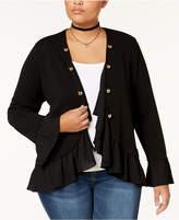 ING Trendy Plus Size Chiffon-Trim Blazer