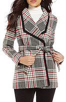 Pendleton Holly Wing Collar Plaid Print Belted Wool Wrap Coat