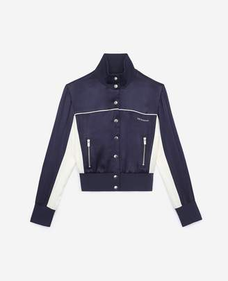 The Kooples Bomber-style blue sweatshirt with high neck