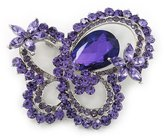 Avalaya Large Amethyst Crystal 'Butterfly' Brooch In Rhodium Plating - 8cm Length
