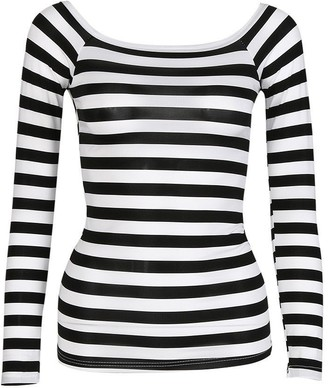 Tuduz T Shirt Women Long Sleeve Tops TUDUZ Women Slim Round Neck Striped Bottoming Basic T Shirt Casual Pullover Tops Blouse (Black UK-10/CN-M)