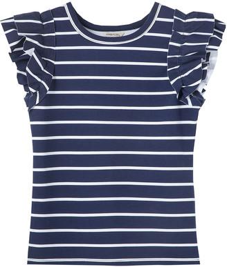 Habitual Girl's Raye Striped Ponte Knit Ruffle Top, Size 7-14