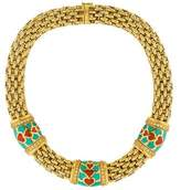 Fope 18K Coral, Turquoise & Diamond Collar Necklace