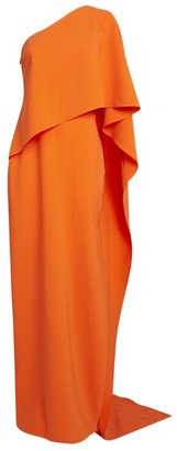 Carolina Herrera Crepe One-Shoulder Draped Gown
